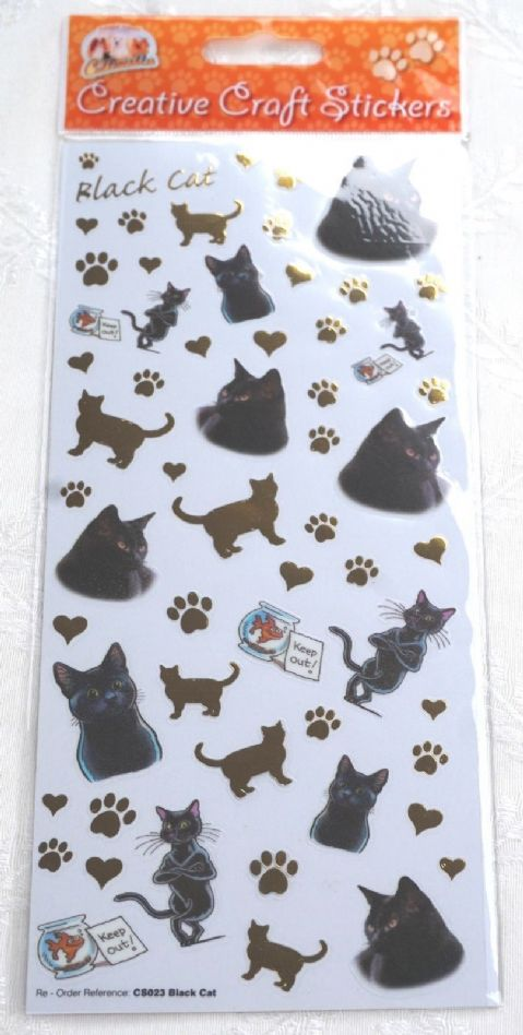 CAT - BLACK CAT - CRAFT STICKERS FOR SCRAPBOOKING, CARD CRAFT ETC